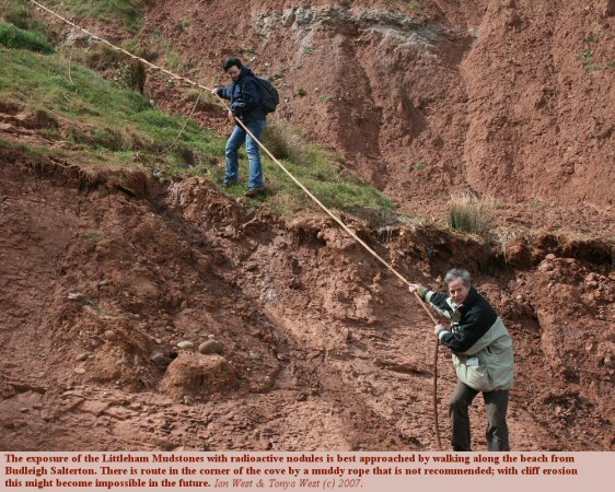 The rope route on the cliffs at Littleham Cove, near Budleigh Salterton, Devon, is not recommended