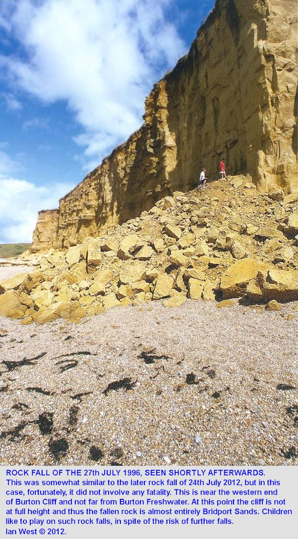 Children play on a rock fall near the Western Endo of Burton Cliff, near Burton Freshwater, Burton Bradstock, Dorset, July 1996