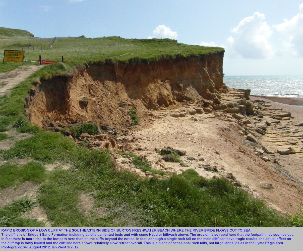 Rapid erosion of a low cliff near the outflow of the River Bride, Burton Bradstock, Dorset, 3rd August 2012