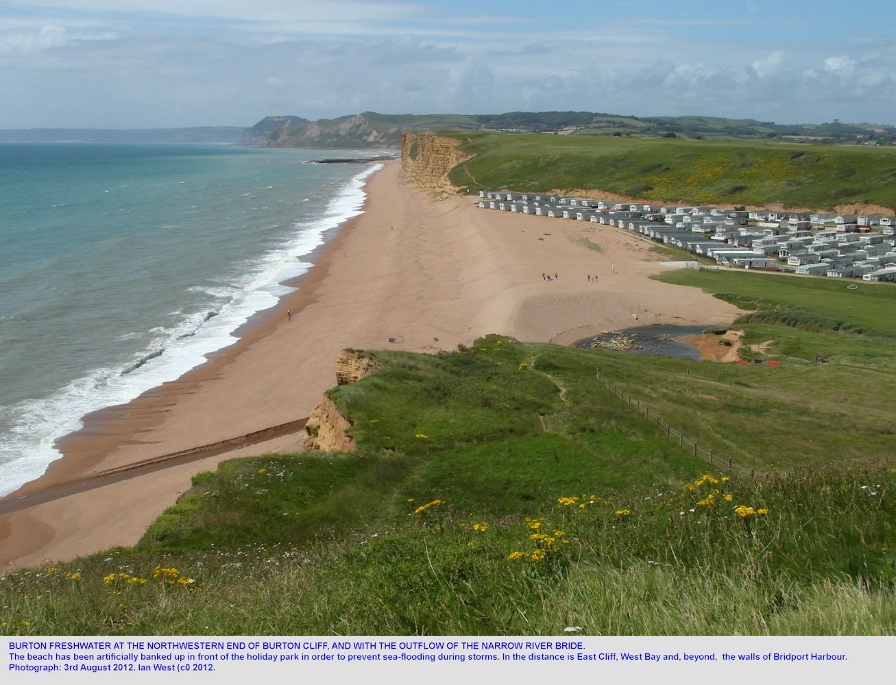 A general view of Burton Freshwater from the northwestern end of Burton Cliff, Burton Bradstock, Dorset, on 3rd August 2012