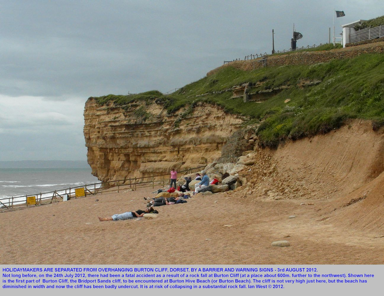 The first part of Burton Cliff at Burton Hive Beach, Burton Bradstock, Dorset, with the cliff area closed off because of a recent fatal rock fall, 3rd August 2012