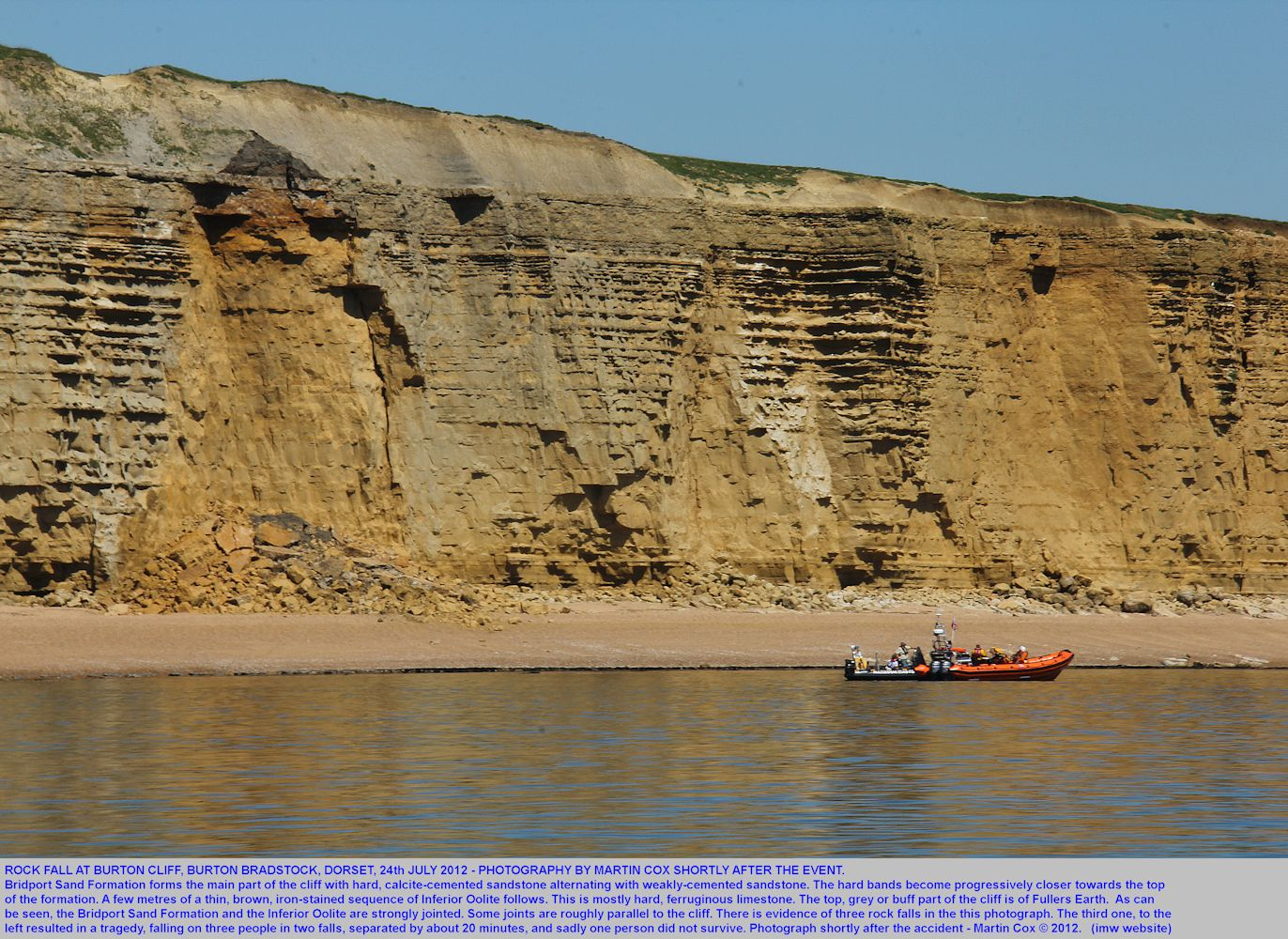 Rock fall of Bridport Sand Formation and Inferior Oolite etc at Burton Cliff, Burton Bradstock, Dorset, 24th July 2012, with a fatal accident, photographed from a boat by Martin Cox