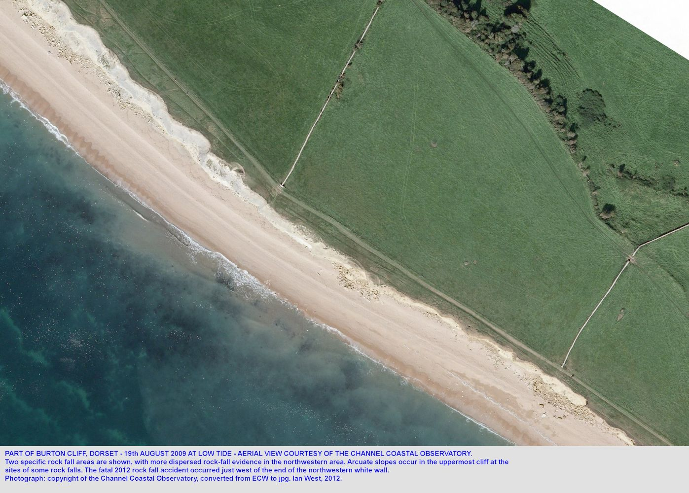 A Channel Coastal Observatory aerial photograph of part of Burton Cliff, Burton Bradstock, Dorset, in August 2009