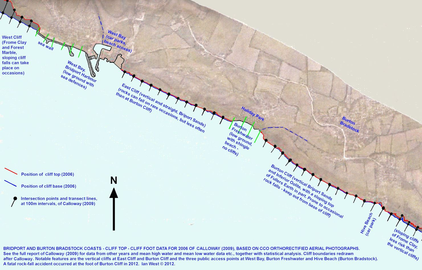 Map showing the occurrrence of vertical cliffs at Bridport and Burton Bradstock, Dorset, 2006, redrawn after Callway (2009)