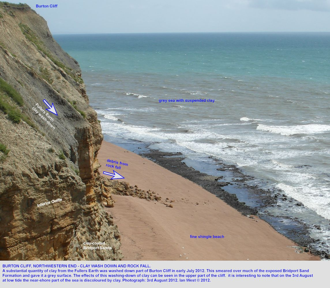 Wash down of clay from the Fullers Earth, Burton Cliff, Burton Bradstock, Dorset, 3rd August 2012