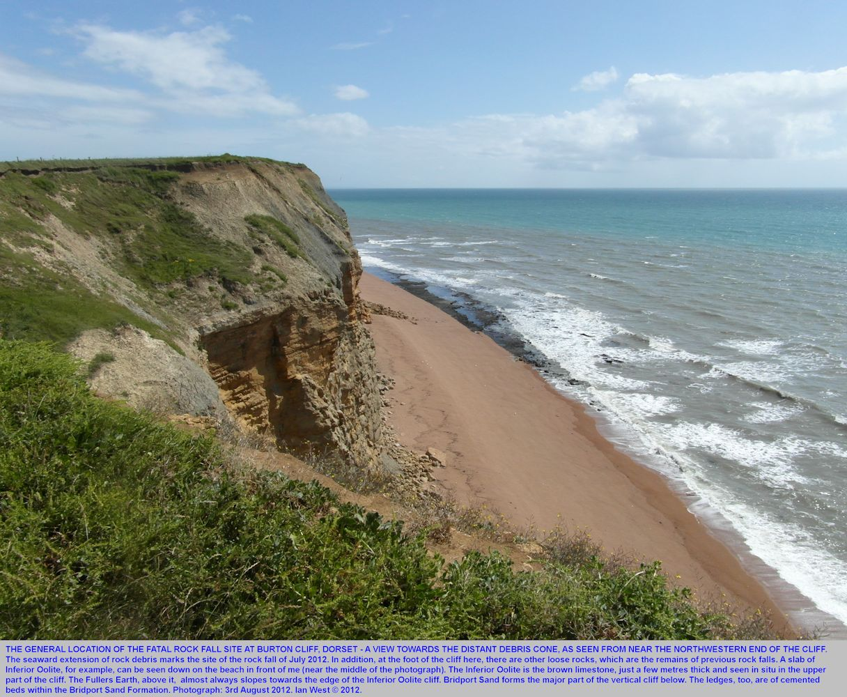 A distant view of part of the debris cone of the Burton Cliff rock fall of 24th July 2012, Burton Bradstock, Dorset