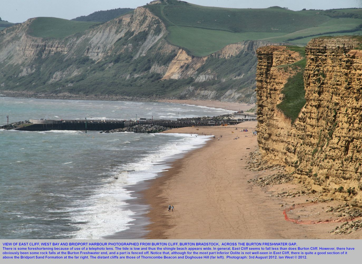 A view of East Cliff, West Bay, seen across the Burton Freshwater gap from Burton Cliff, Burton Bradstock, Dorset, 3rd August 2012