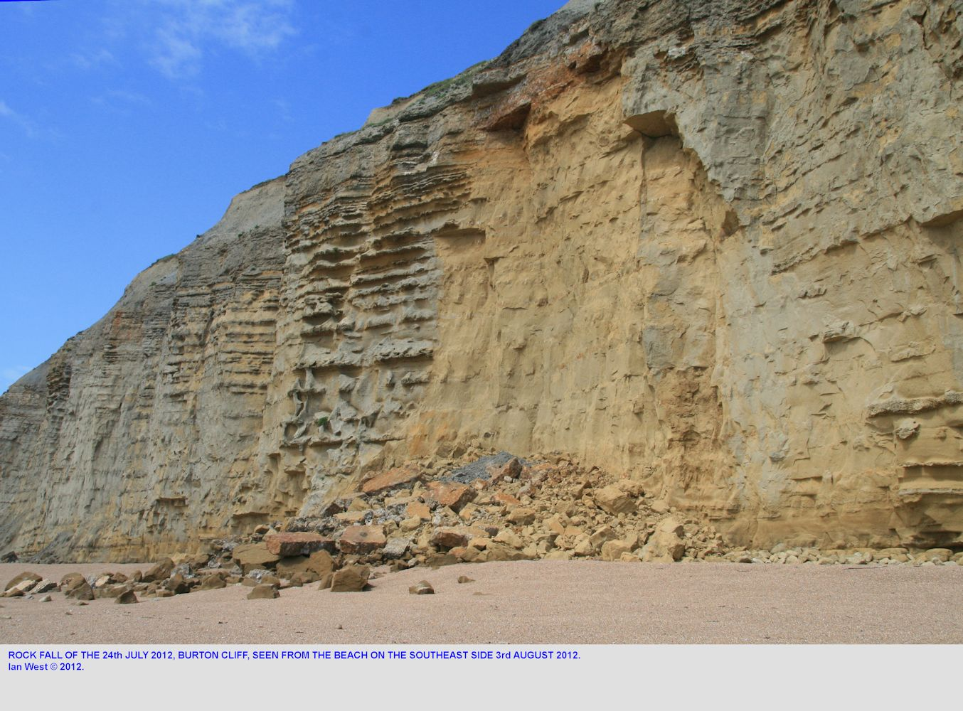 An oblique view from the beach to the southeast of the 24th July 2012 fatal rock fall at Burton Bradstock, Dorset, with photograph taken on the 3rd August