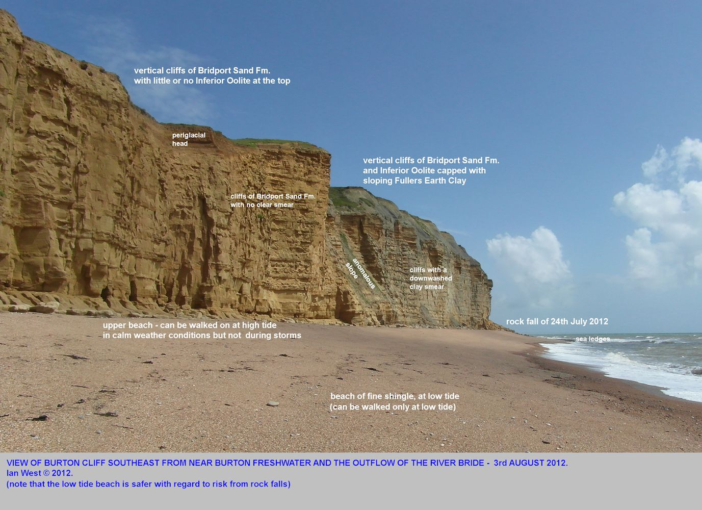 Burton Cliff, Burton Bradstock, Dorset, showing the variation in cliff type and the site of the rock fall accident of 24th July, 2012, photo taken 3rd August 2012