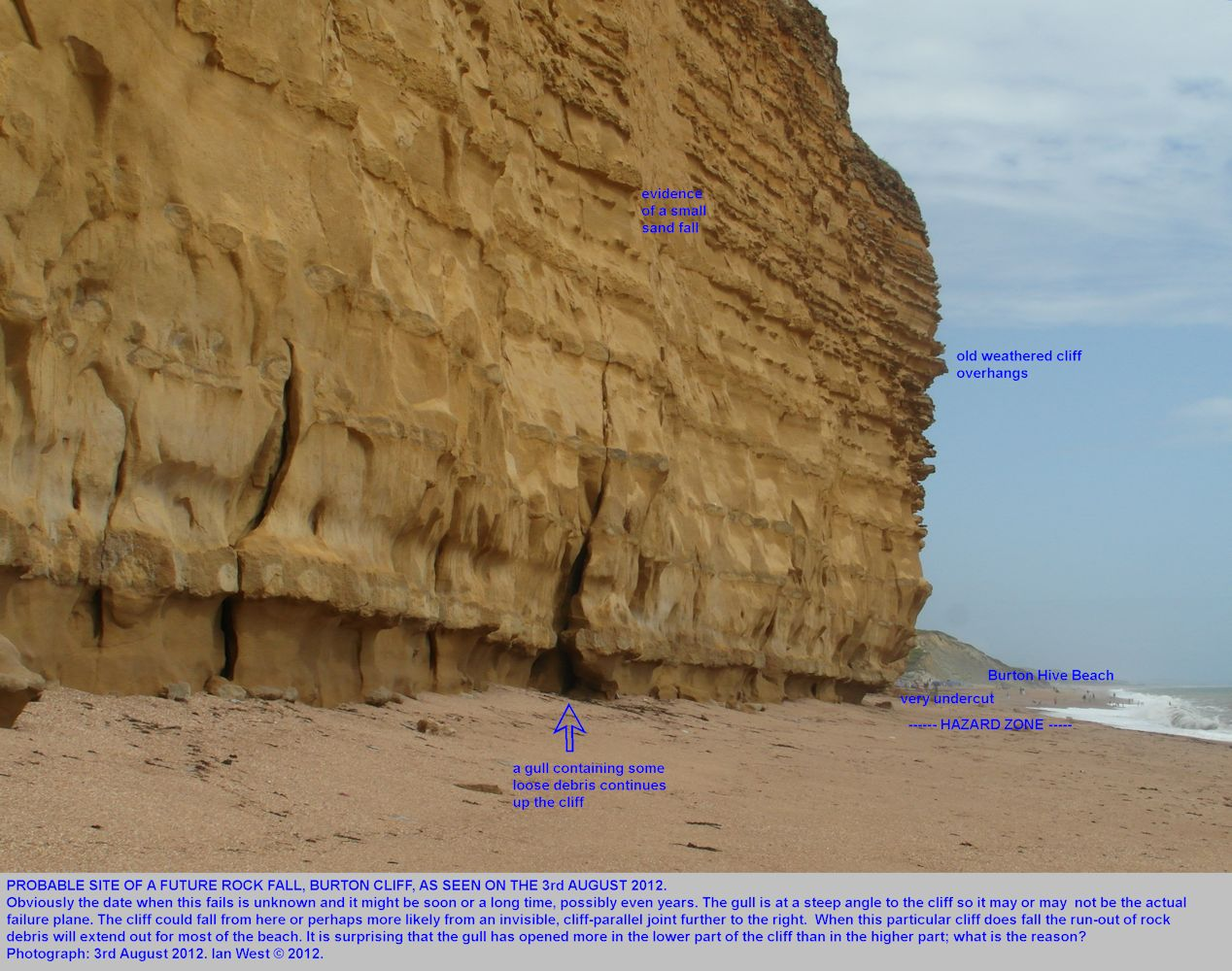 An undercut and overhanging cliff near Burton Hive Beach,Burton Bradstock, Dorset, a site of a future rock fall