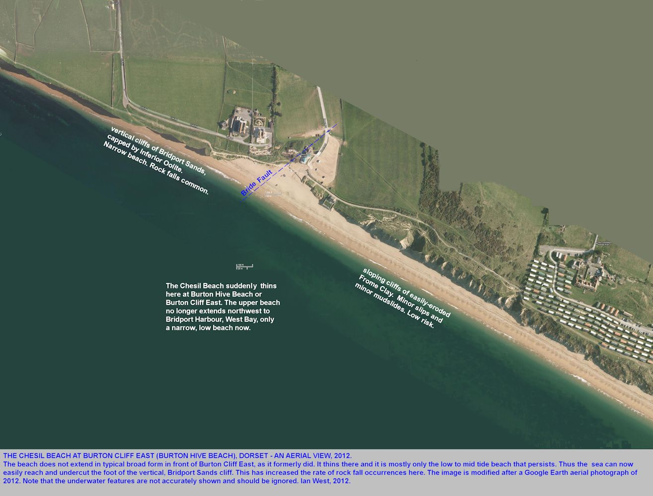 Aerial view of the Chesil Beach thinning at Burton Bradstock East or Hive Beach, Dorset, 2012