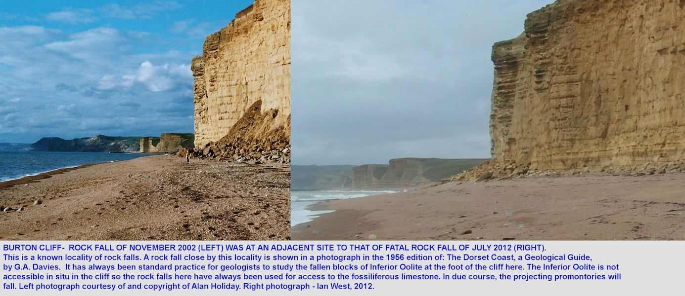 A photograph of a rock fall at Burton Cliff in November 2002, by Alan Holiday, compared to a photograph of the site of the fatal rock fall of July 2012