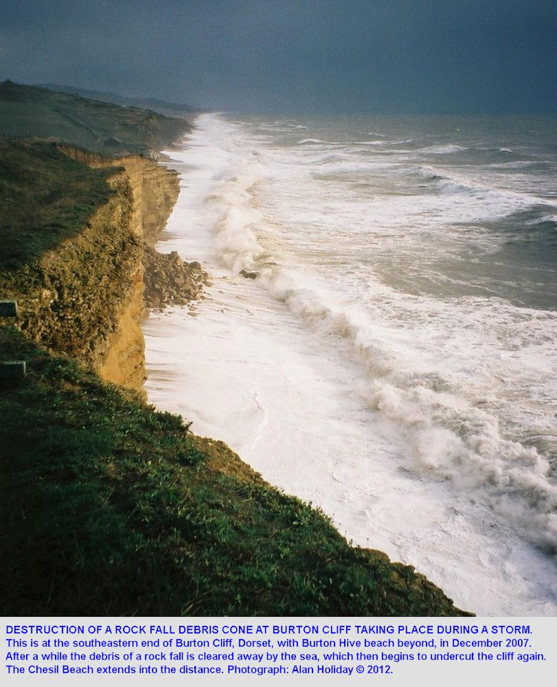 Erosion of a rock fall debris cone at the southeastern end of Burton Cliff, Burton Bradstock, Dorset, in December 2007, photographed by Alan Holiday