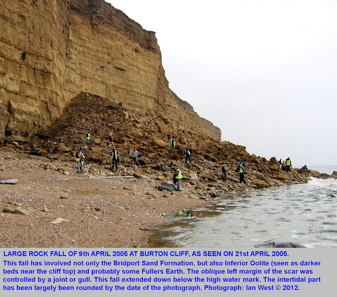 A large rock fall with Inferior Oolite and Fullers Earth, Burton Bradstock, Dorset, 2005