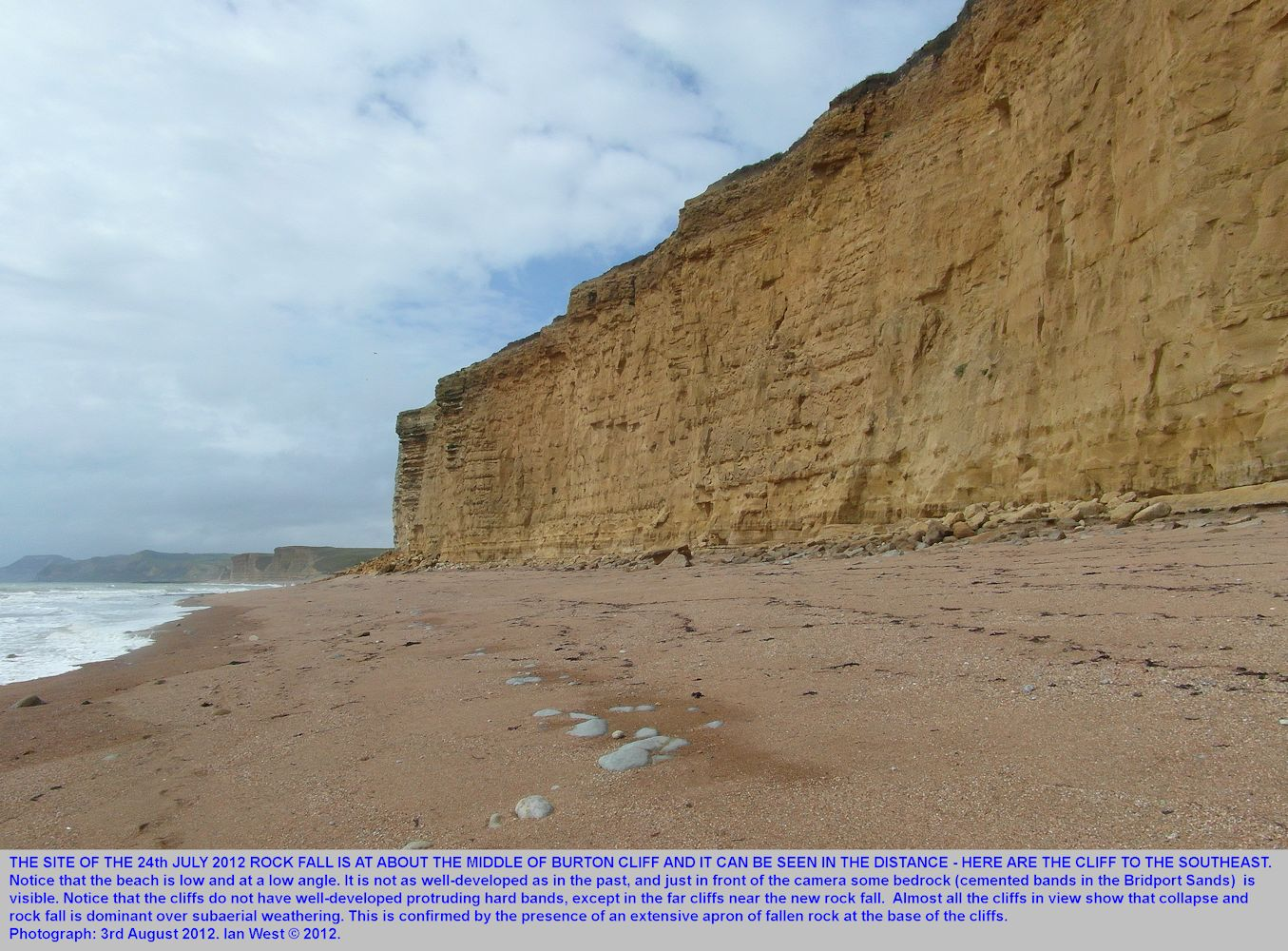 The July 2012 rock fall in relation to a long stretch of eroding cliff to the southeast, Burton Cliff, Burton Bradstock, Dorset