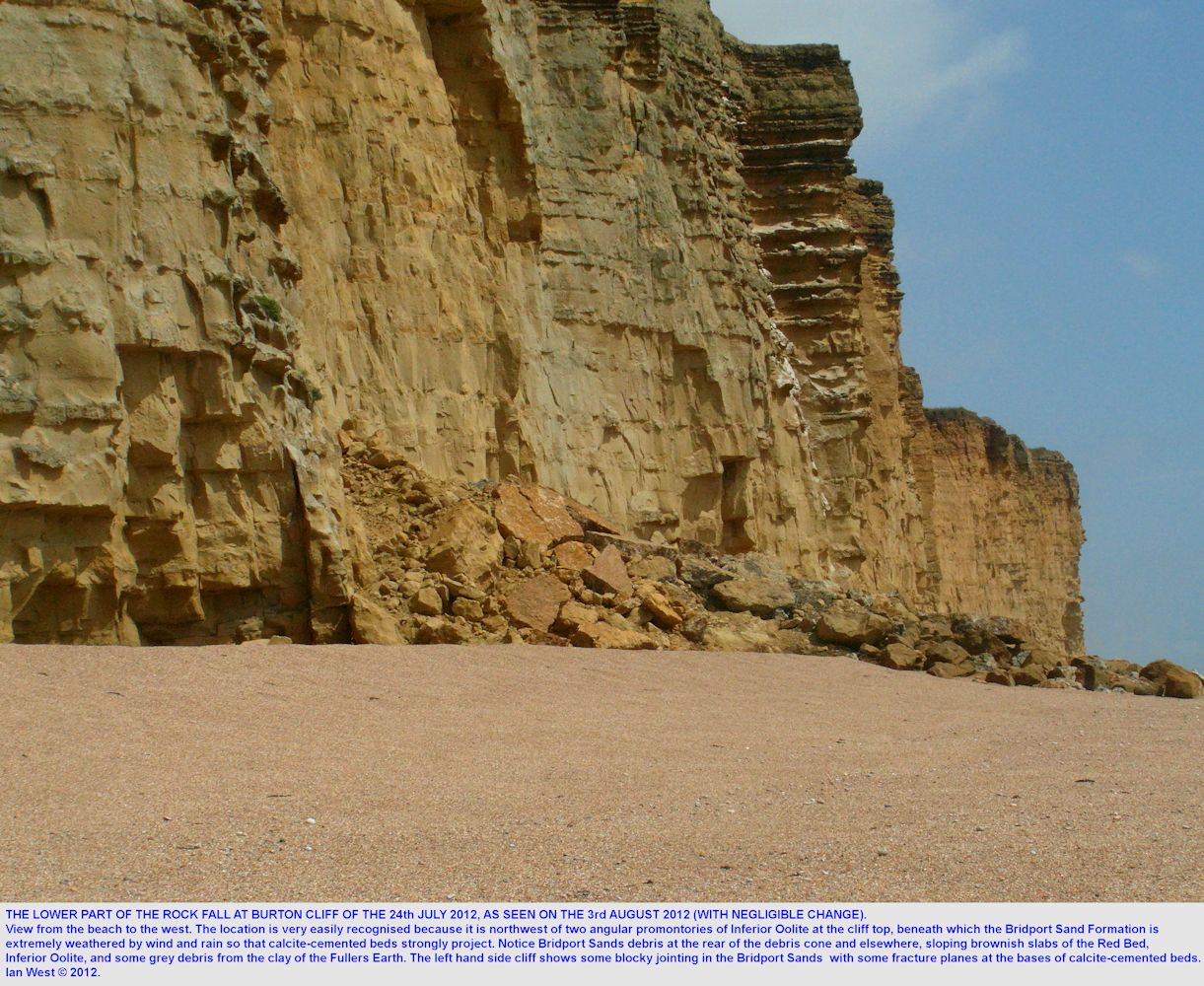 Details of the lower part of the rock fall of the 24th July 2012, Burton Cliff, Burton Bradstock, as seen on the 3rd August 2012