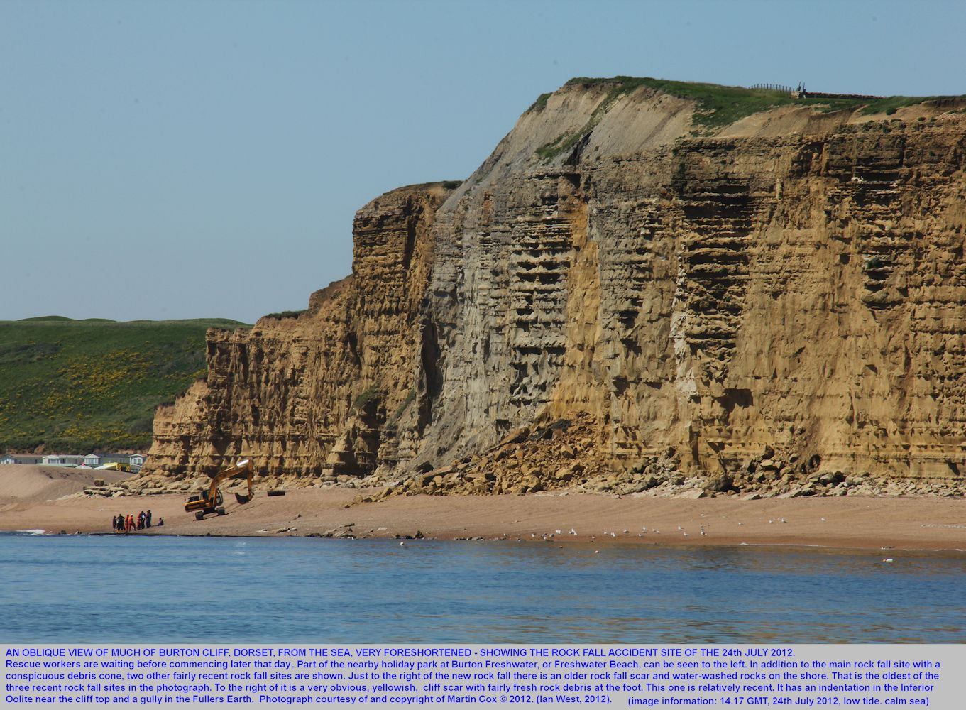 An oblique, foreshortened view of Burton Cliff , Burton Bradstock, Dorset, on the 24th July 2012, soon after a fatal accident caused by a rock fall, new