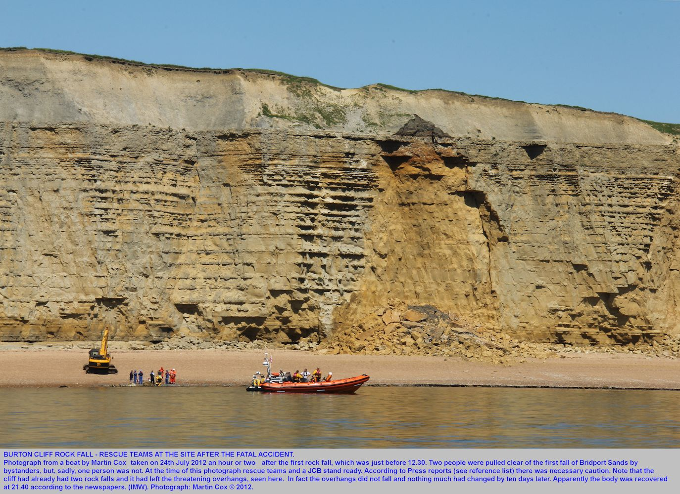 Rock fall accident at Burton Cliff, rescue teams at the beach seen at about two hours after the fall, photograph by Martin Cox from a boat