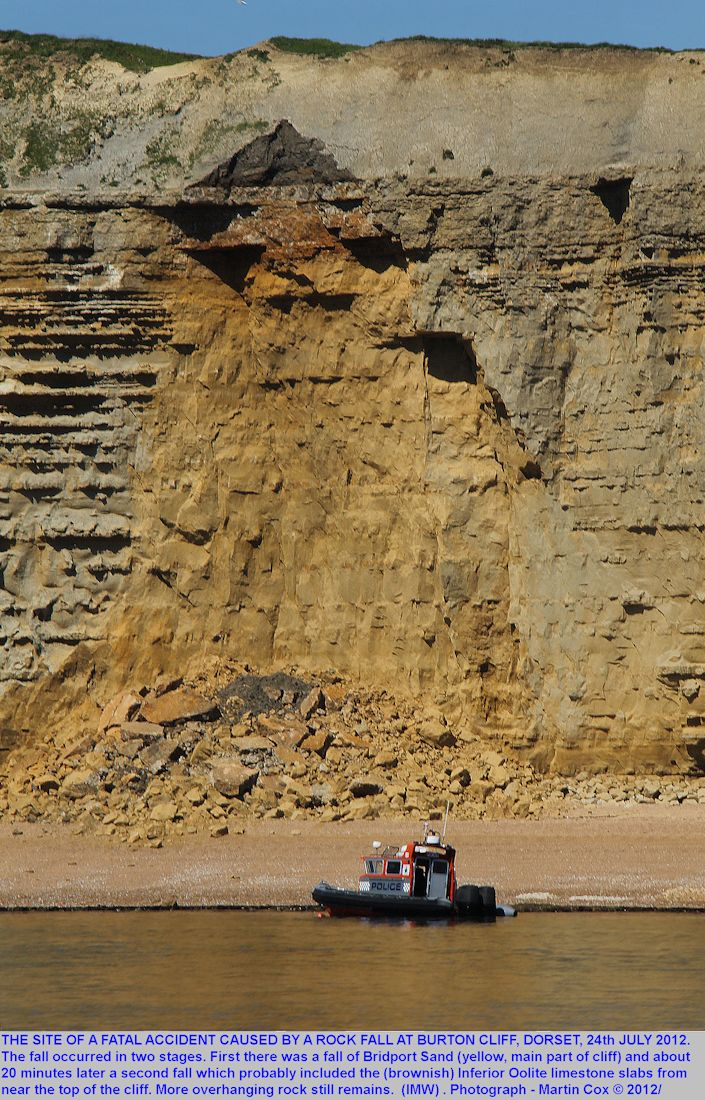 Details of the fatal rock fall at Burton Cliff, Dorset, photographed by Martin Cox from a boat on the 24th July 2012