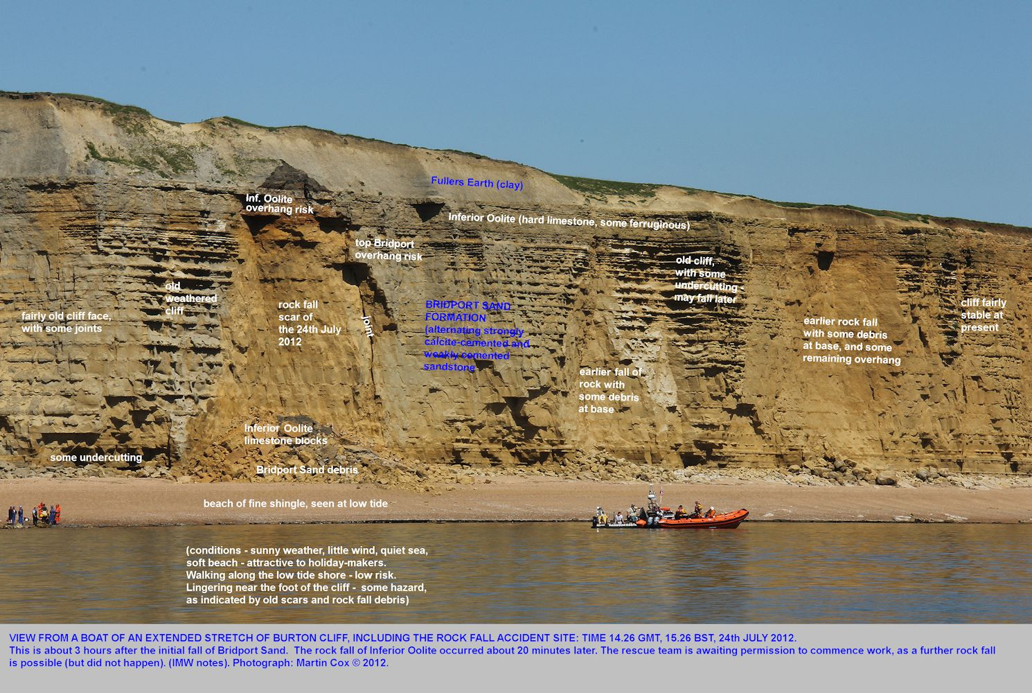 A broad, extended view of the part of Burton Cliff, that fell with a fatal accident, on the 24th July, 2012, Burton Bradstock, Dorset, photograph by Martin Cox