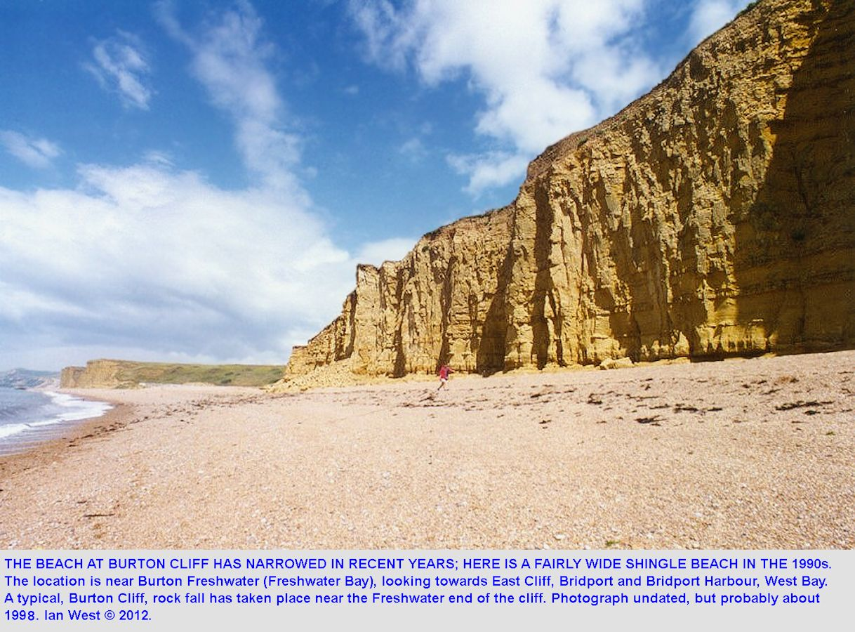 An photograph of a rock fall, probably from 1996, at the western end of Burton Cliff, Burton Bradstock, Dorset, with a wider beach present at that date, by Gareth Lloyd