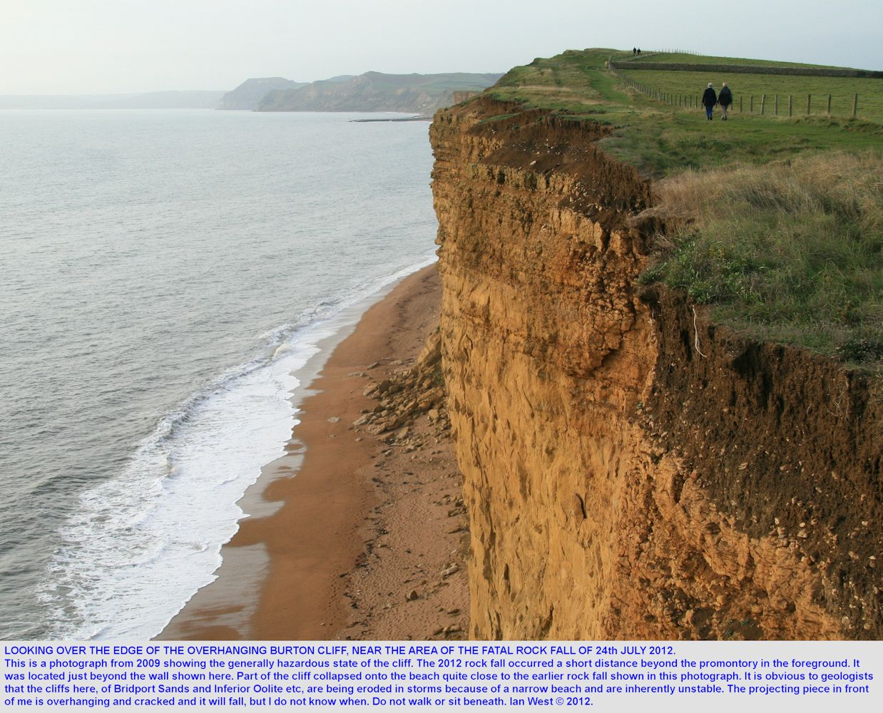 Looking over the edge of the unstable Burton Cliff, near the area of the fatal rock slide in 2012, older photograph of 2009, Burton Bradstock, Dorset