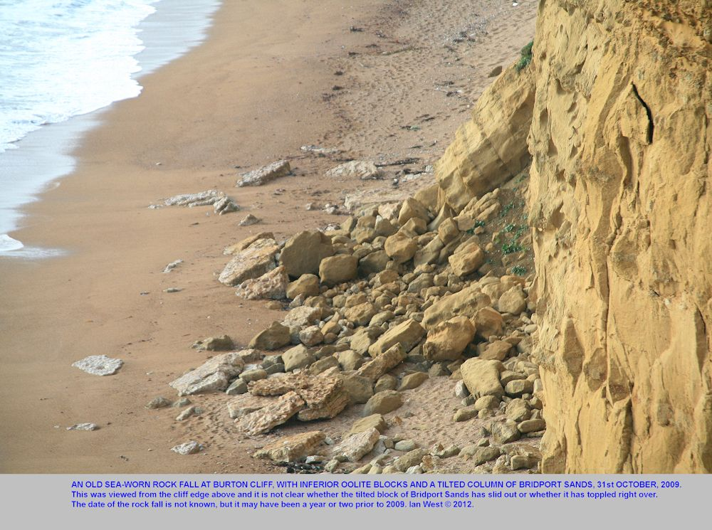 The remains of a rock fall debris cone seen from the cliff top, Burton Cliff, Dorset, and with an inclined block of Bridport Sand Formation