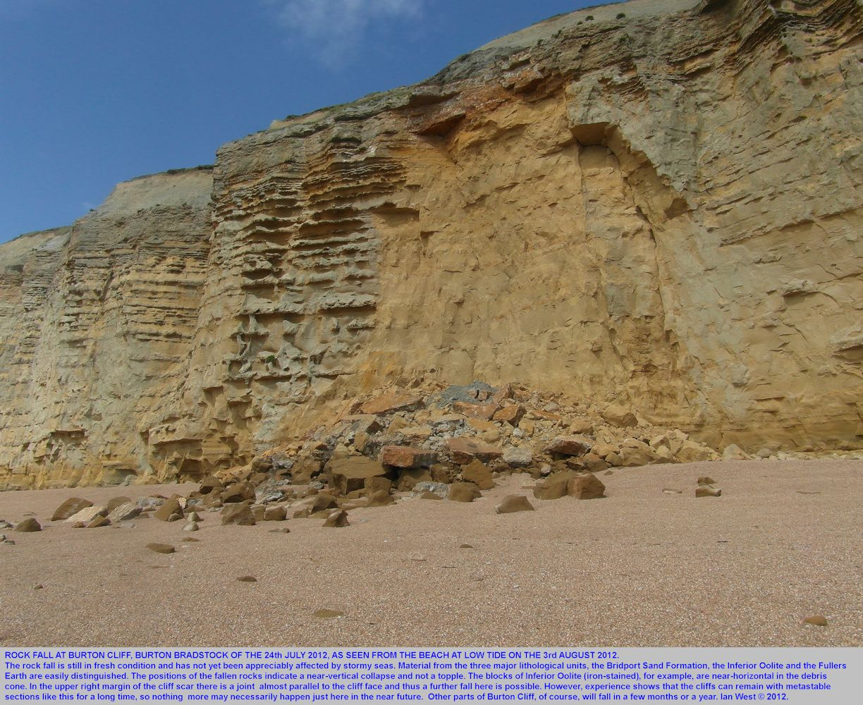 The rock fall of 24th July 2012, seen from the beach at low tide, 3rd August 2012, Burton Cliff, Burton Bradstock, Dorset