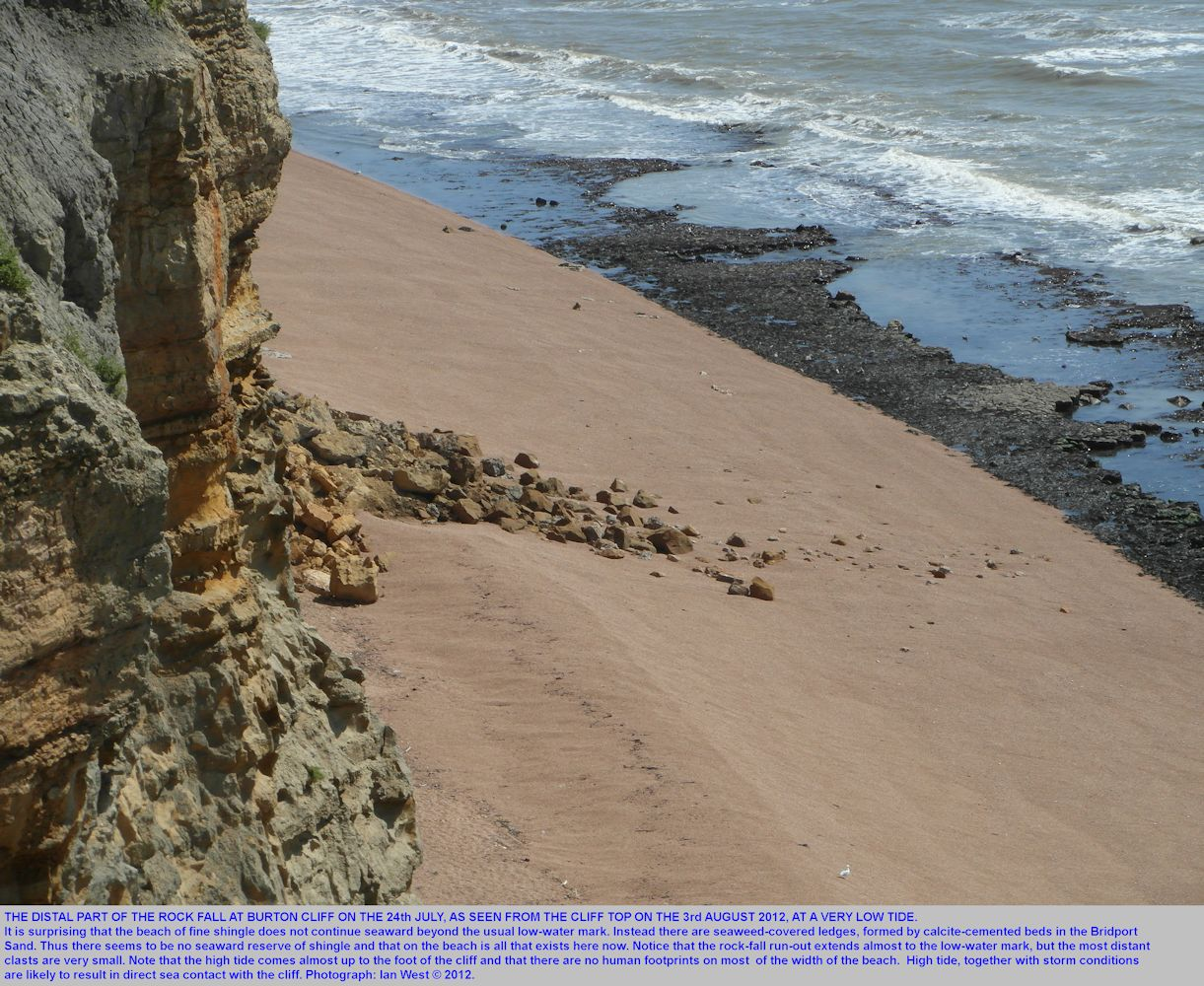 A view of the rock fall at Burton Cliff, seen on 3rd August 2012 from the cliff top to the northwest