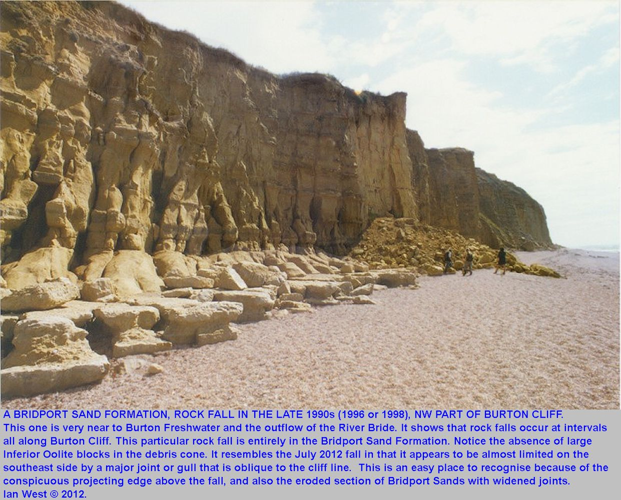 A rock fall of Bridport Sand Formation near the northwestern end of Burton Cliff, Burton Bradstock, Dorset, in the late 1990s