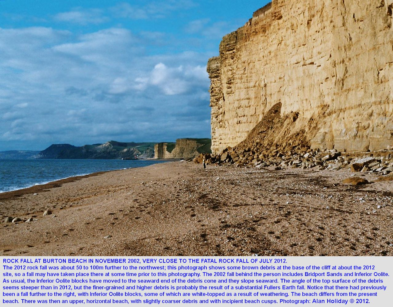 Rock fall in November 2002 at a site close to that of the fatal 2012 rock fall, Burton Cliff, Burton Bradstock, Dorset, photograph by Alan Holiday