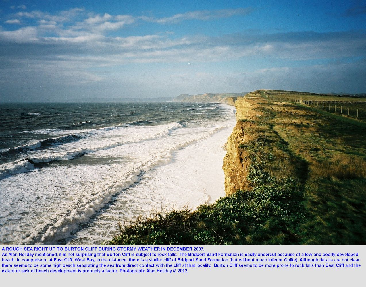 Photograph of rough sea at Burton Cliff, Burton Bradstock, Dorset, by Alan Holiday in 2007