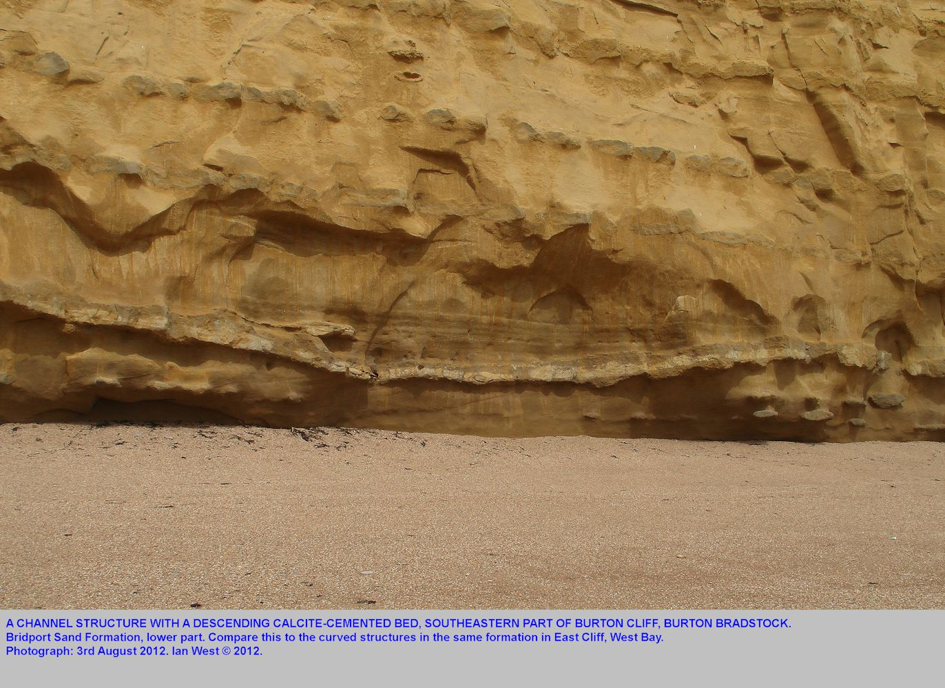 A channel structure in the Bridport Sand Formation, lower part, at Burton Cliff, Burton Bradstock, Dorset, 3rd August 2012