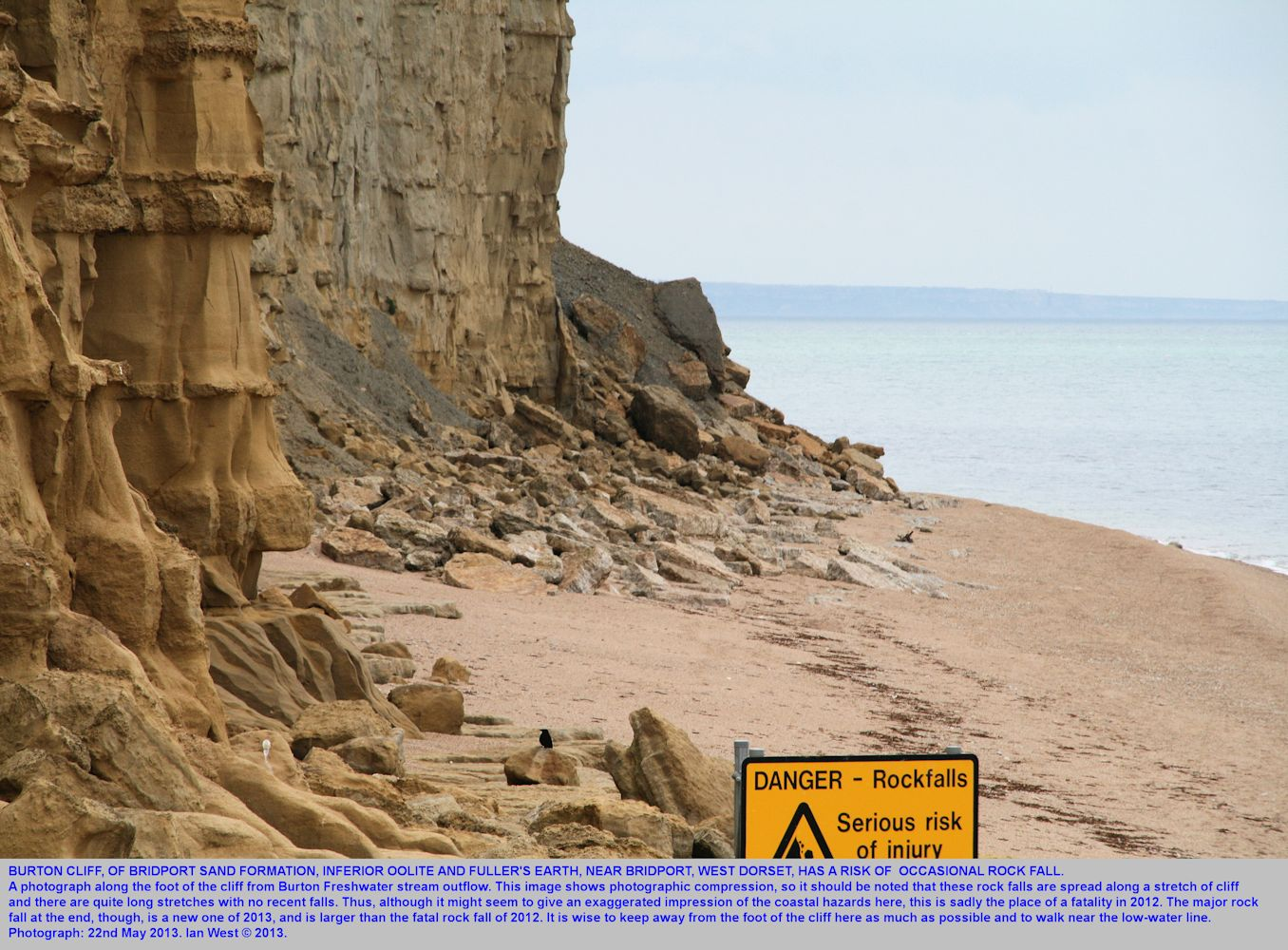 Risk from rock falls at Burton Cliff, Burton Bradstock, Dorset, notice and cliff in 2013