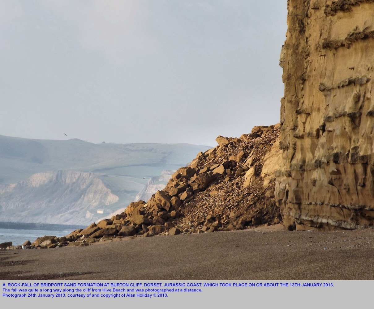 A rock fall at Burton Cliff in January 2013, Burton Bradstock, Jurassic Coast, Dorset