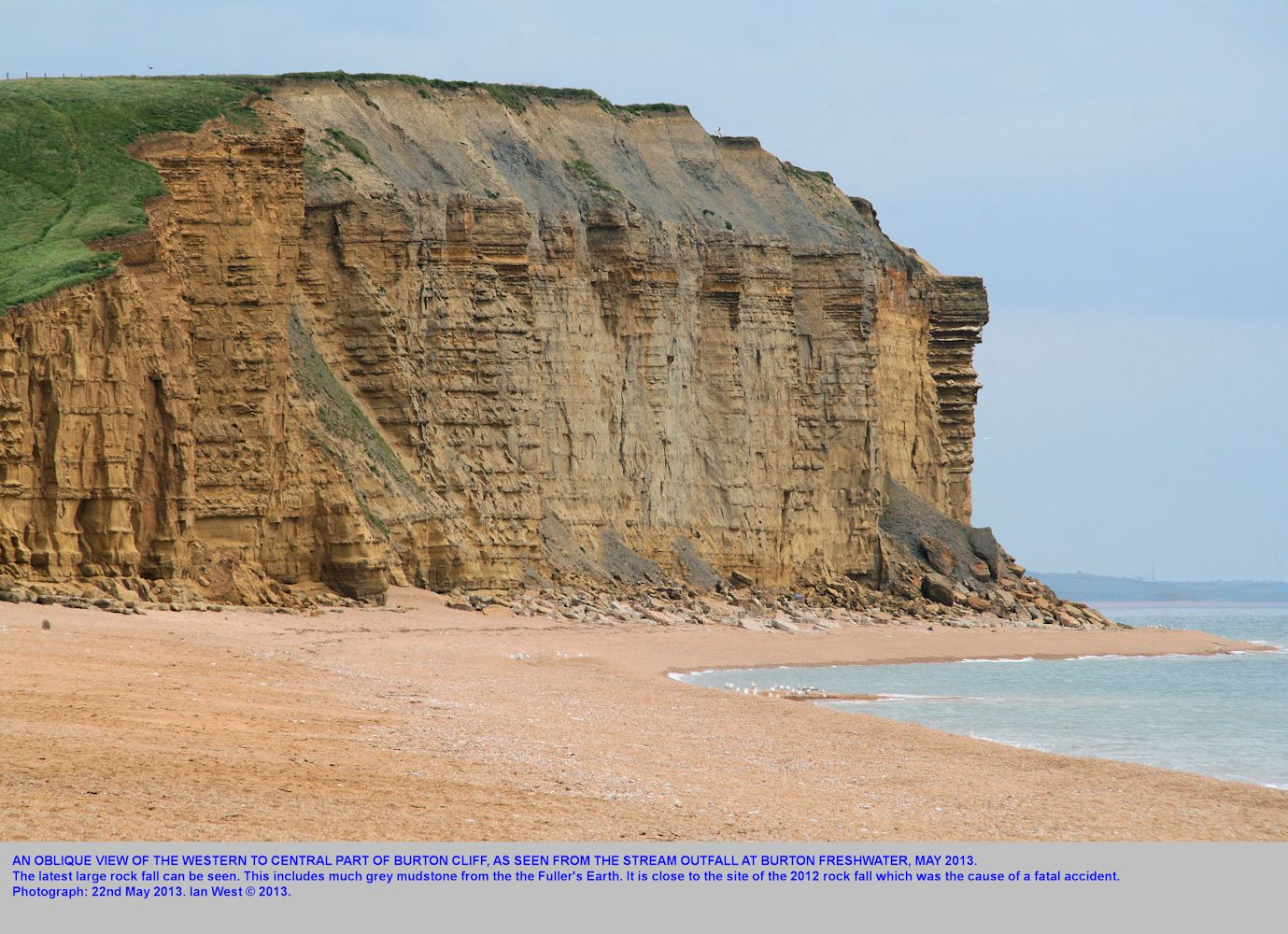 A major rock fall of 2013, near the fatal 2012 rock fall, Burton Cliff Burton Bradstock, Dorset, as seen obliquely from Burton Freshwater, 22nd May 2013