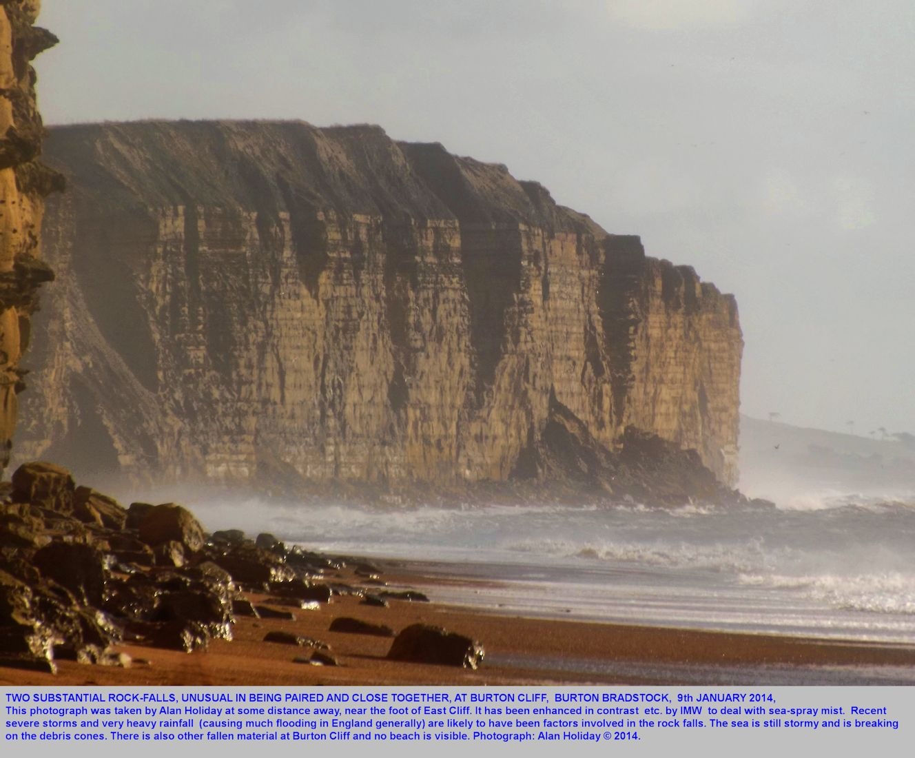 A view from East Cliff of distant Cliff, Burton Bradstock, with two new and large rock-falls, 9th January 2014, Alan Holiday photograph