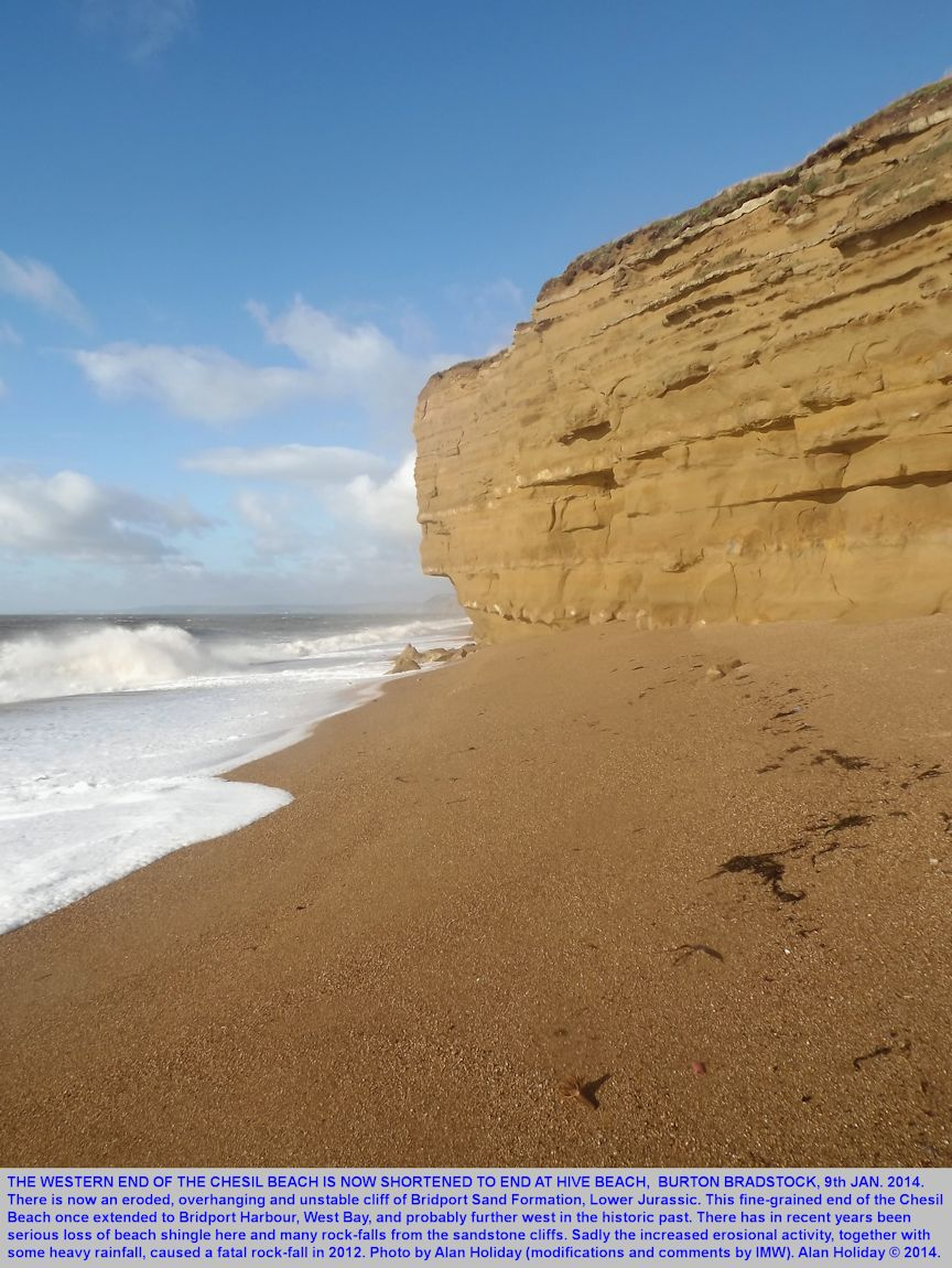 The end of the Chesil Beach is now at unstable cliffs, Hive Beach, Burton Bradstock, Dorset, 9th January 2013, Alan Holiday photograph