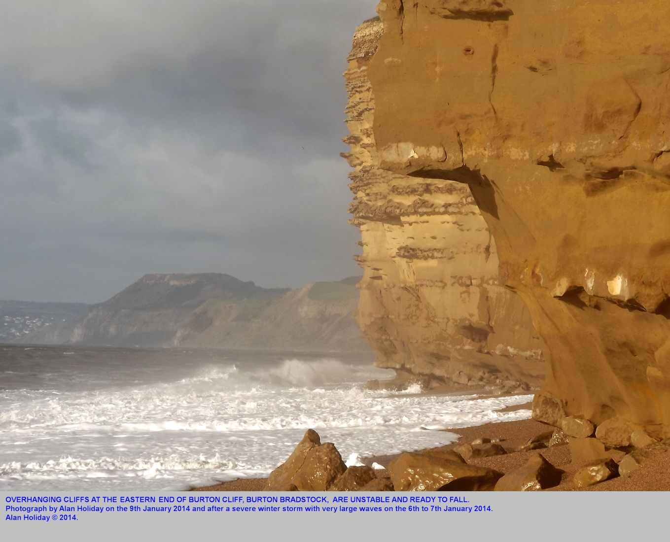 Dangerously overhanging cliffs, that have been undercut by the sea, eastern Burton Cliff, Burton Bradstock, Dorset, 9th January 2014, photograph by Alan Holiday