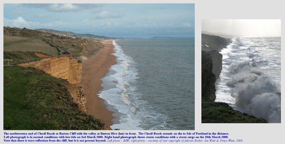 Views of the northwestern part of the Chesil Beach from Burton Cliff, Dorset, in normal and storm conditions, 2008