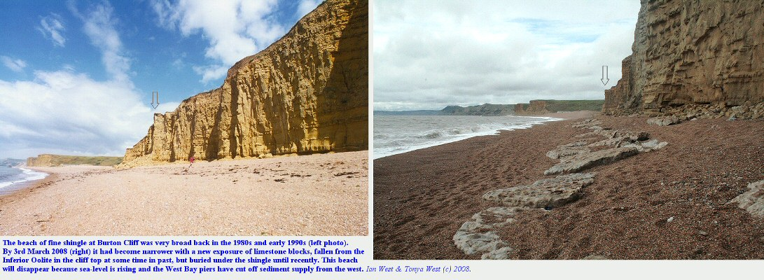 Loss of beach material and exposure of fallen limestone at the western end of Burton Cliff, Dorset, in 2008, shown in comparison with an earlier photograph
