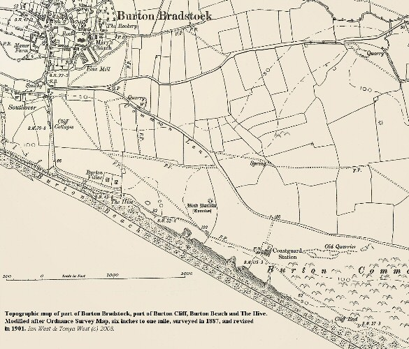 An old topographic map showing part of Burton Cliff,   The Hive and Burton Beach at Burton Bradstock, Dorset, in 1901