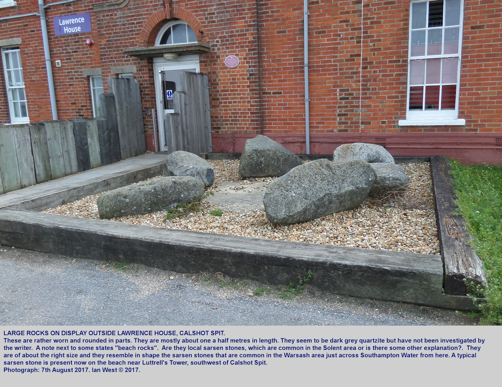Rocks on display at Lawrence House, Calshot Spit, that might be sarsen stones from the nearby coast or, perhaps, old gravel pits