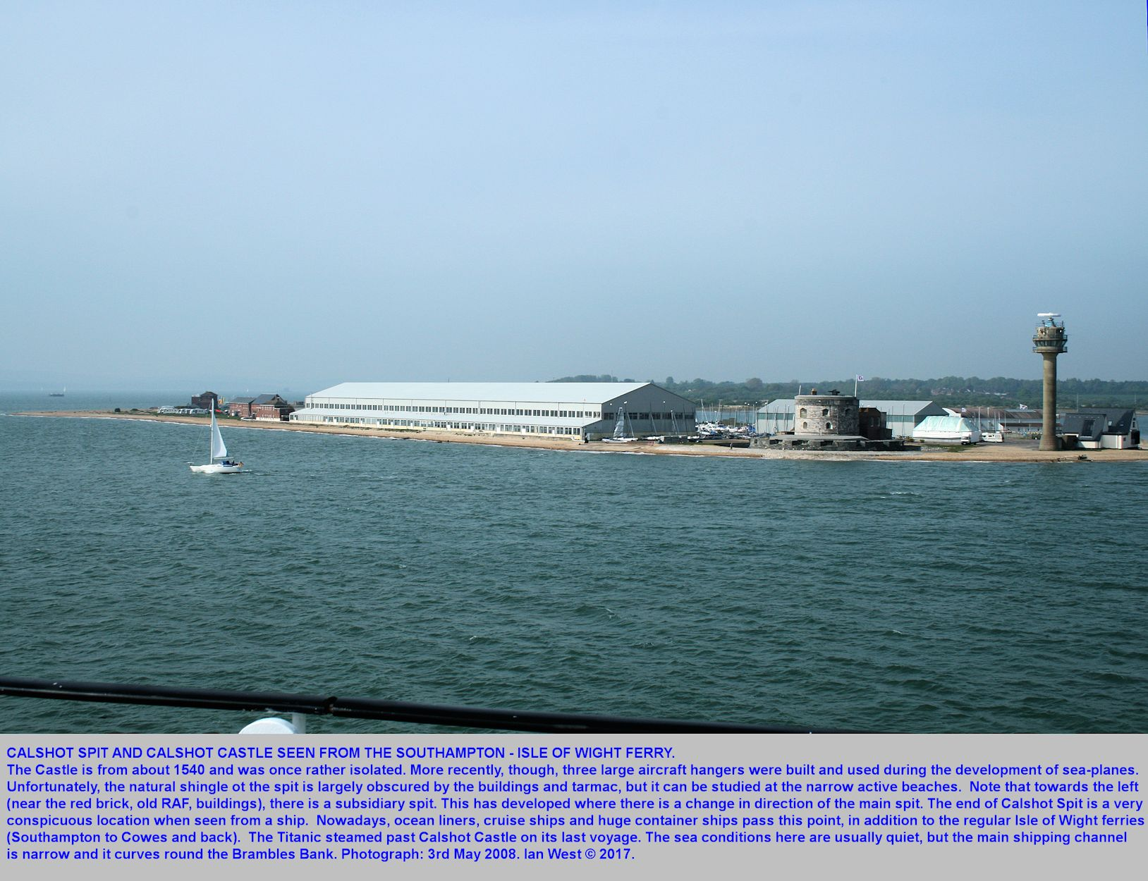 A view of Calshot Spit from a ship