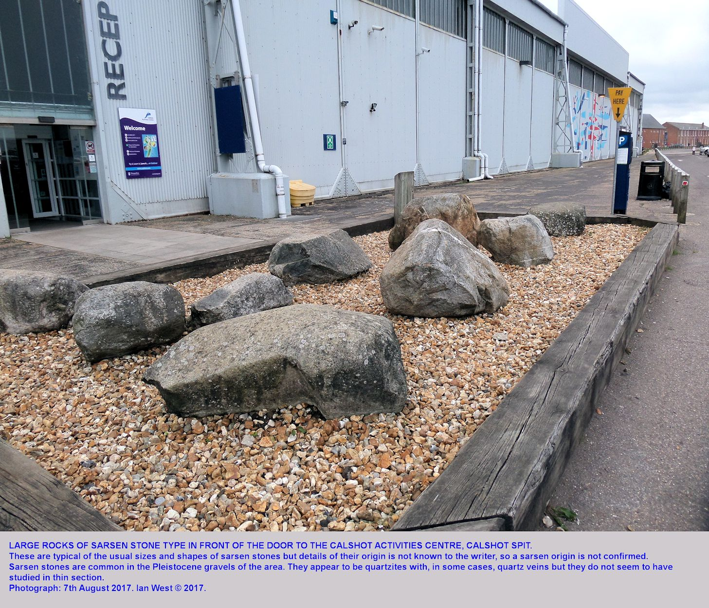 Large rocks on display adjacent to the entrance to the Activities Centre at Calshot Spit