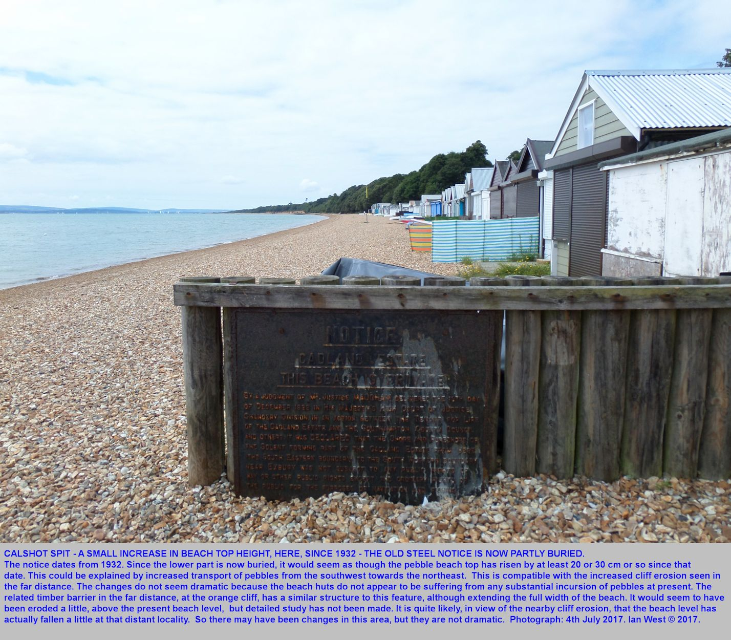 An old notice board indicates an increase in height of the beach, since 1931, southwestern, landward part of Calshot Spit, July 2017
