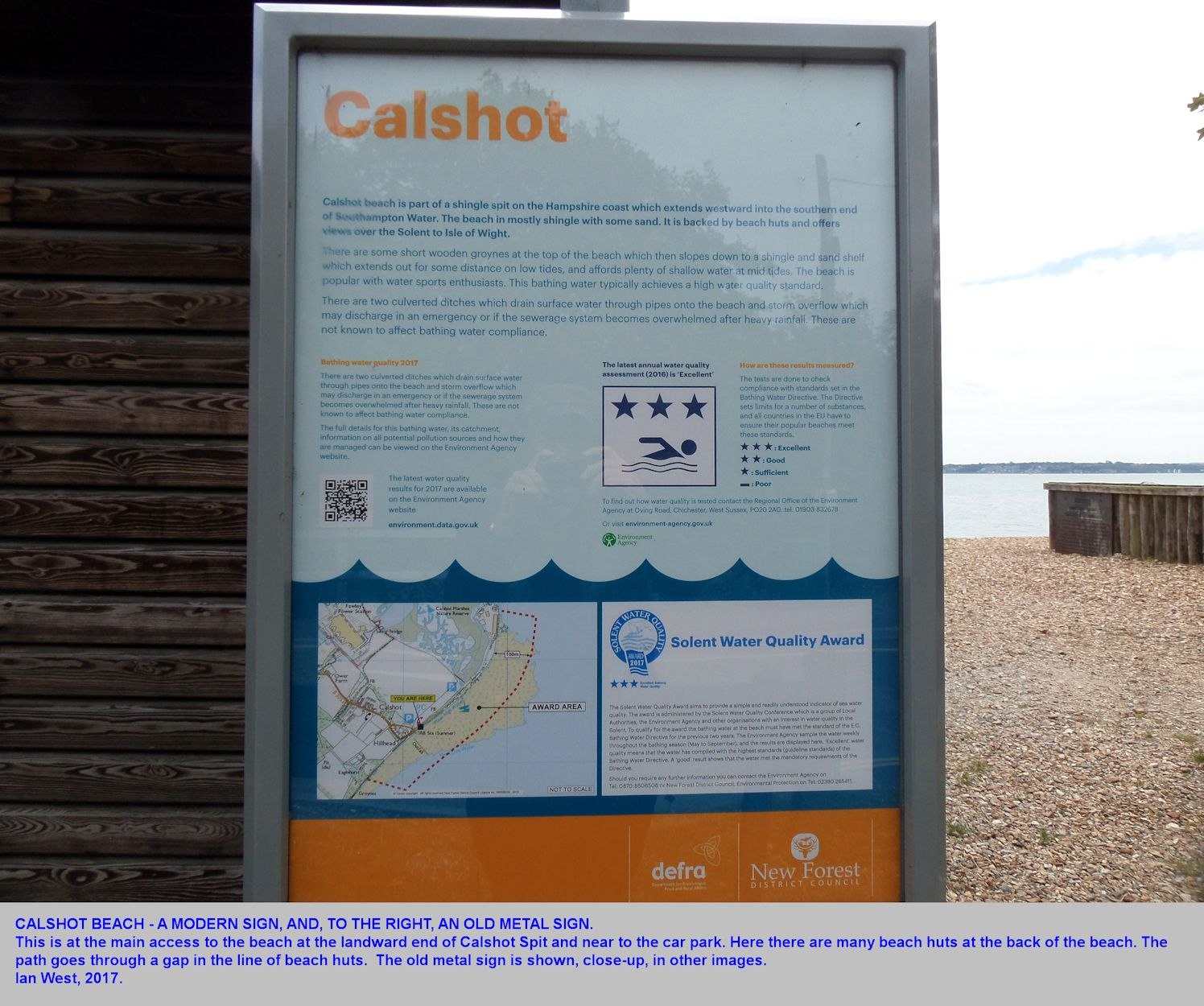 An information sign at the access to the beach at the southwestern end of Calshot Spit, Hampshire, in 2017