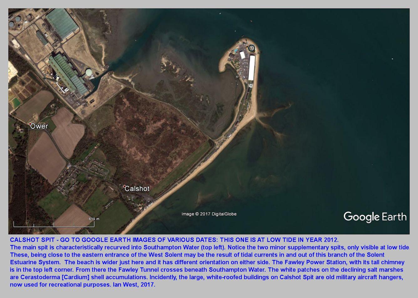 Calshot Spit as shown by GE for 2012, with the photograph taken at low tide