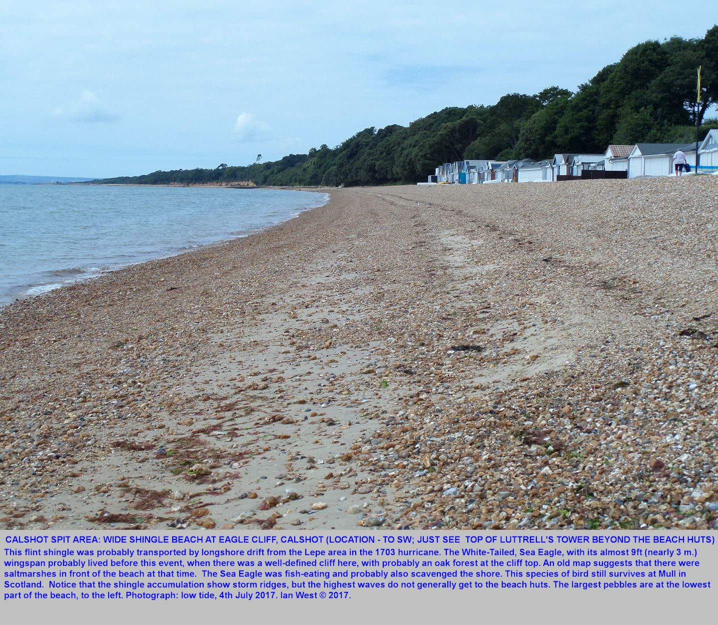 View southwest along the gravel of Eagle Cliff from the Hill Head area of Calshot, Hampshire