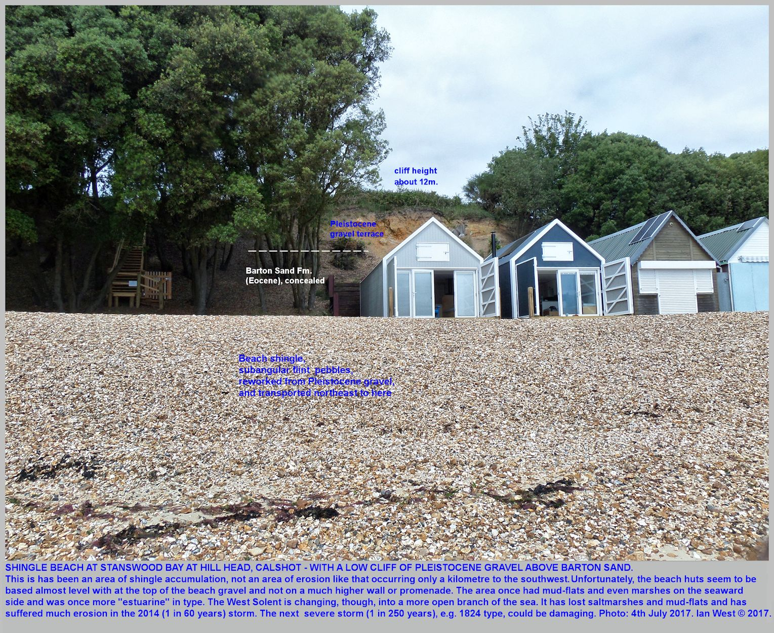 The shingle beach at Hill Head, Calshot, part of Stanswood Bay, and with beach huts placed rather low, just at the top of the shingle beach
